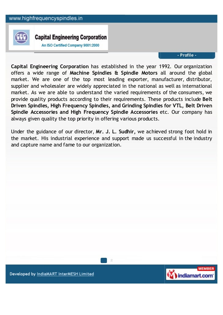 - Profile -Capital Engineering Corporation has established in the year 1992. Our organizationoffers a wide range of Machin...