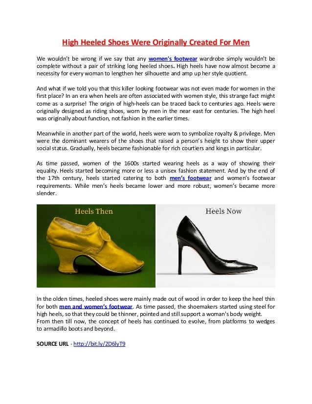 84eeccae090 High Heeled Shoes Were Originally Created For Men