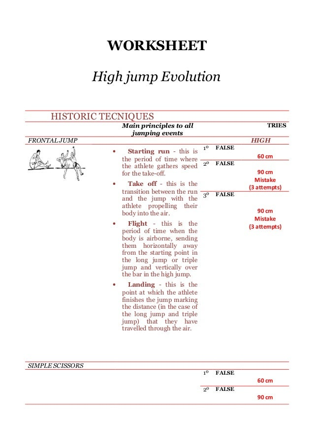 WORKSHEET High jump Evolution HISTORIC TECNIQUES Main principles to all jumping events  TRIES  FRONTAL JUMP  HIGH •  •  1º...