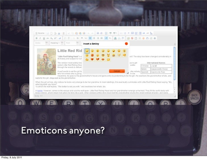 Emoticons anyone?Friday, 8 July 2011