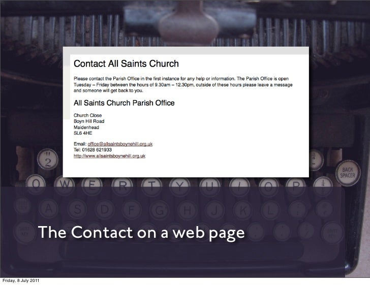 The Contact on a web pageFriday, 8 July 2011