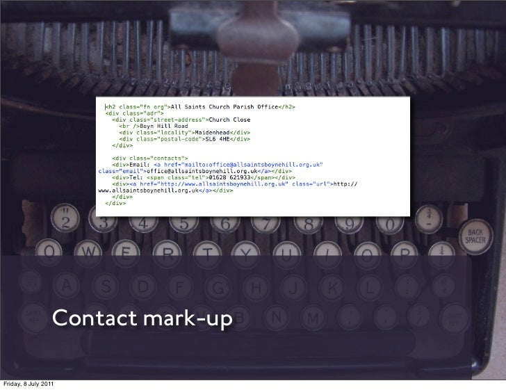 Contact mark-upFriday, 8 July 2011