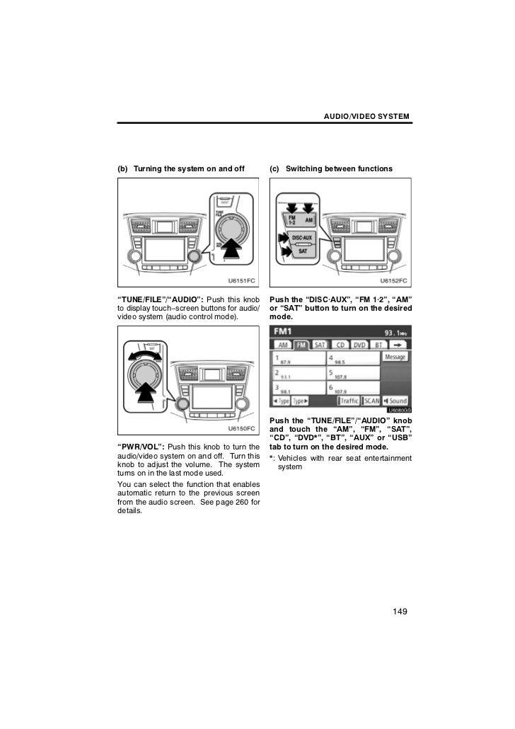 2012 Toyota Highlander Audio/Video Information