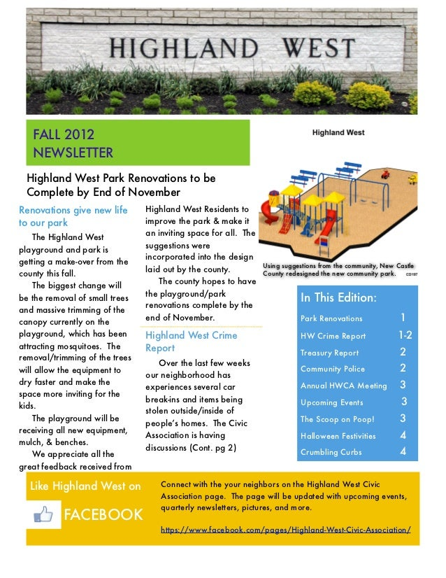 FALL 2012   NEWSLETTER Highland West Park Renovations to be Complete by End of NovemberRenovations give new life       Hig...