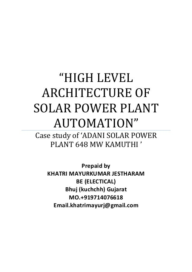 """""""HIGH LEVEL ARCHITECTURE OF SOLAR POWER PLANT AUTOMATION"""" Case study of 'ADANI SOLAR POWER PLANT 648 MW KAMUTHI ' Prepaid ..."""