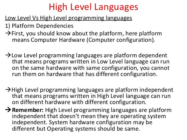 High level languages representation