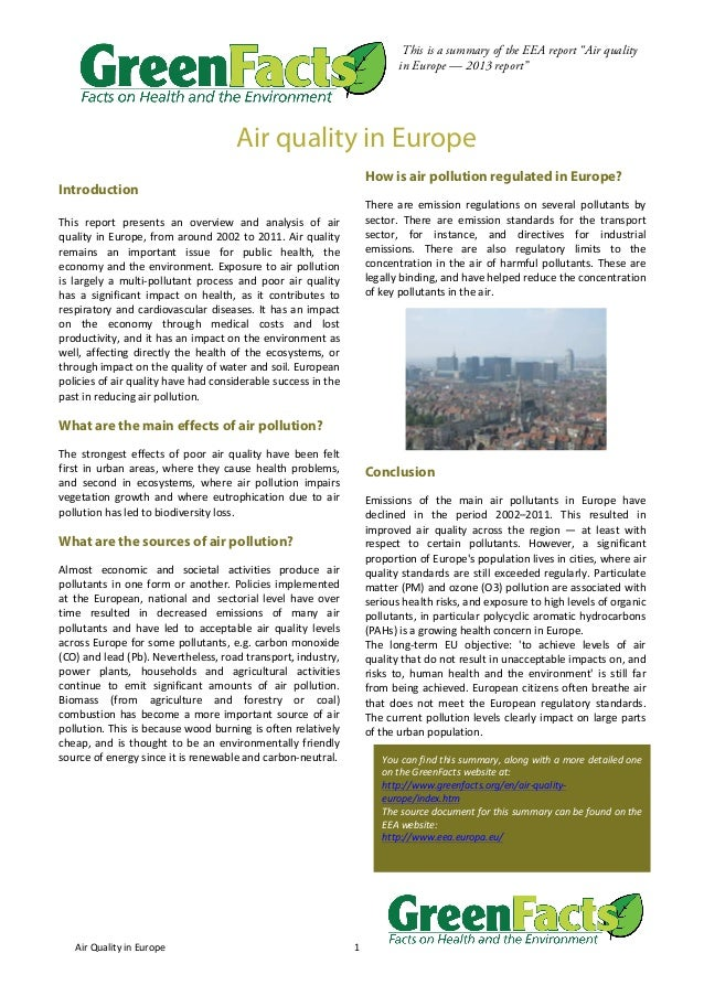 """Air  Quality  in  Europe   1     This is a summary of the EEA report """"Air quality in Europe — 2013 report""""   ..."""