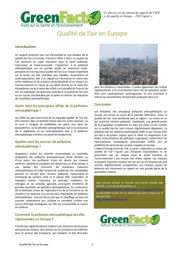 Qualité  de  l'air  en  Europe   1   Ce dossier est un résumé du rapport de l'AEE « Air quality in Europe – 20...