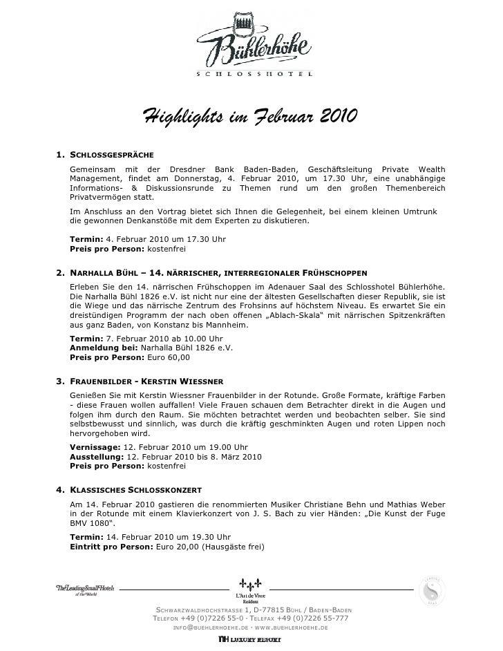 Highlights im Februar 20101. SCHLOSSGESPRÄCHE  Gemeinsam mit der Dresdner Bank Baden-Baden, Geschäftsleitung Private Wealt...
