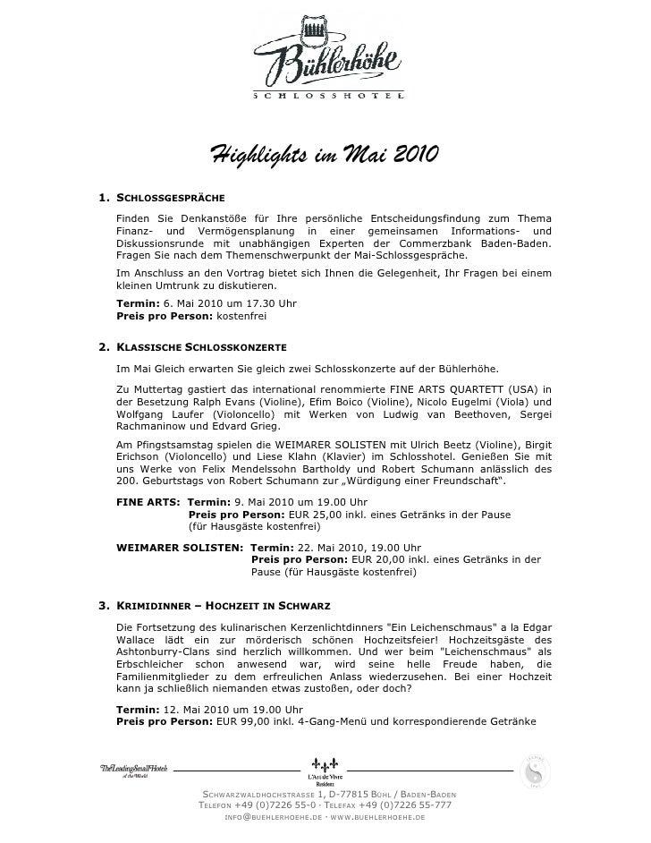 Highlights im Mai 20101. SCHLOSSGESPRÄCHE  Finden Sie Denkanstöße für Ihre persönliche Entscheidungsfindung zum Thema  Fin...