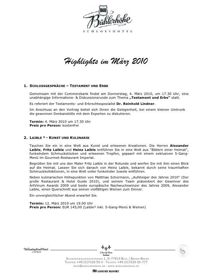 Highlights im März 20101. SCHLOSSGESPRÄCHE – TESTAMENT UND ERBE  Gemeinsam mit der Commerzbank findet am Donnerstag, 4. Mä...