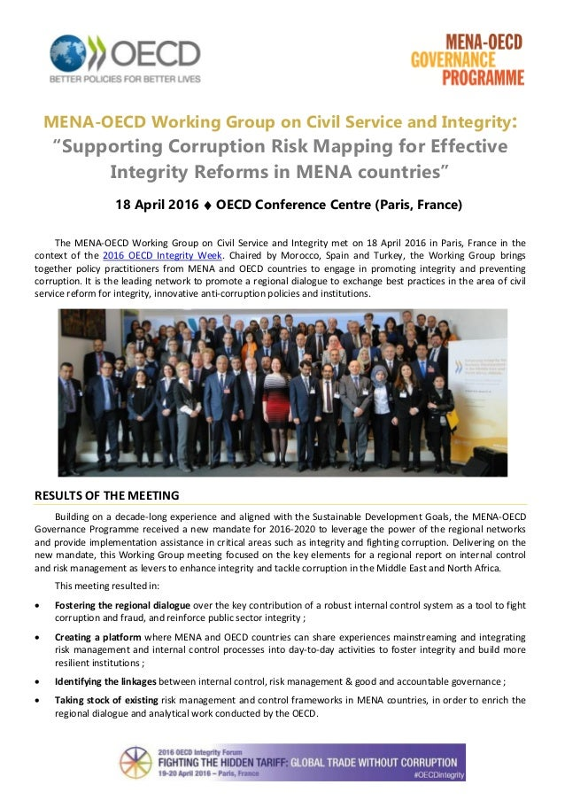 """MENA-OECD Working Group on Civil Service and Integrity: """"Supporting Corruption Risk Mapping for Effective Integrity Reform..."""