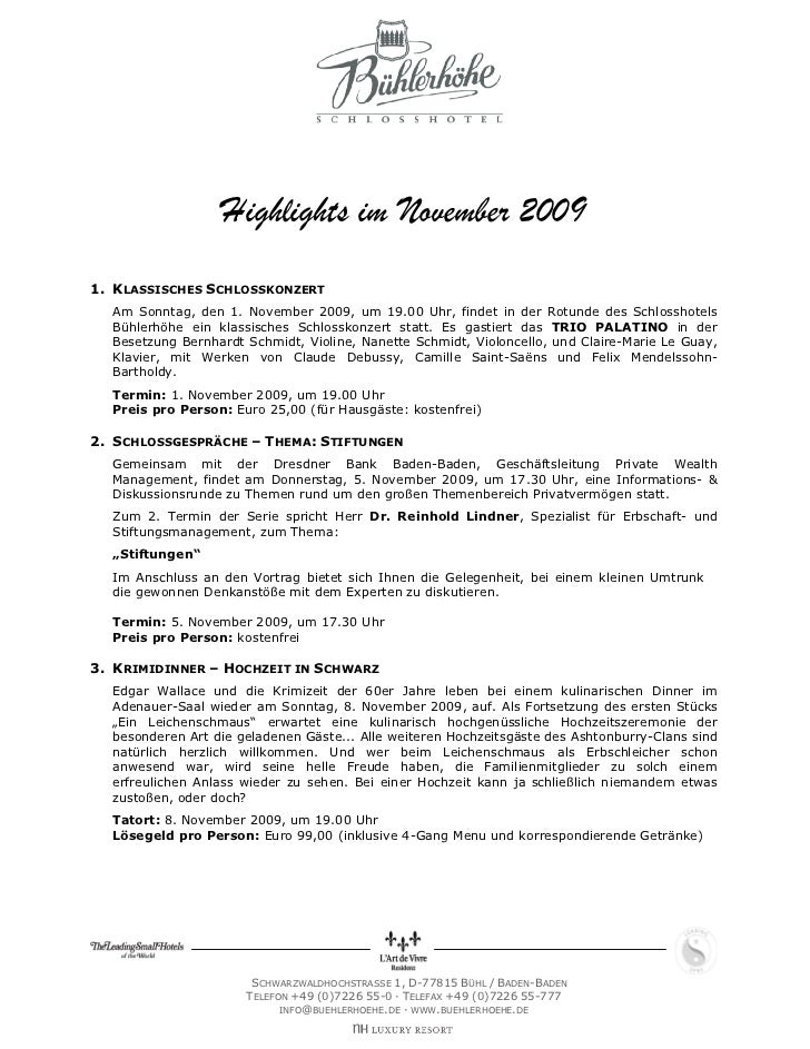 Highlights im November 20091. KLASSISCHES SCHLOSSKONZERT  Am Sonntag, den 1. November 2009, um 19.00 Uhr, findet in der Ro...