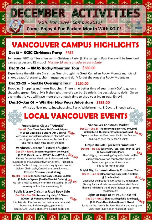 (KGIC Vancouver Campus 2012)                Come Enjoy A Fun Packed Month With KGIC!                 MON        1     TUES...