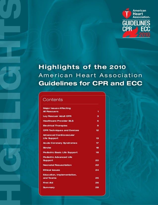 H i g h l i g h t s o f t h e 2010American Heart AssociationGuidelines for CPR and ECC Contents Major Issues Affecting All...