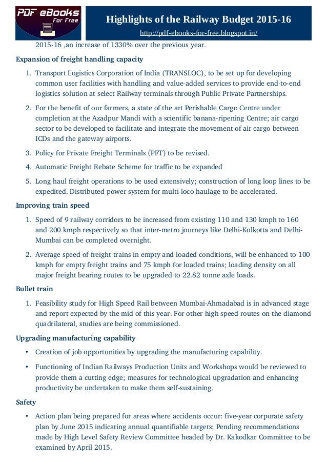 Highlights of Railway Budget 2015 16