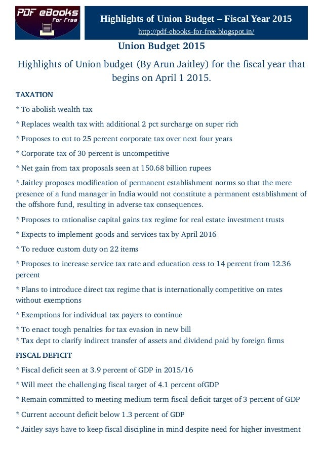 Union Budget 2015 Highlights Pdf