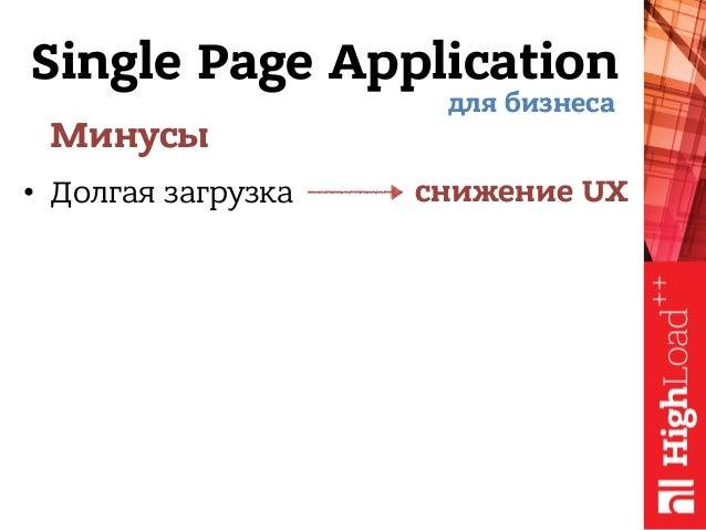 Single Page Application Минусы • Долгая загрузка для бизнеса снижение UX