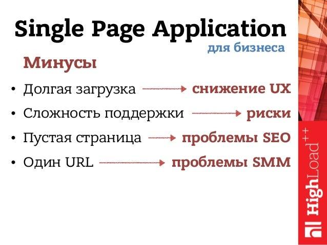 Single Page Application Минусы • Долгая загрузка • Сложность поддержки • Пустая страница • Один URL для бизнеса снижение U...