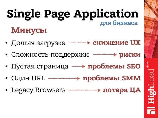 Single Page Application Минусы • Долгая загрузка • Сложность поддержки • Пустая страница • Один URL • Legacy Browsers для ...
