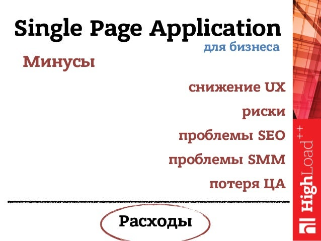 Single Page Application Минусы для бизнеса снижение UX риски проблемы SEO проблемы SMM потеря ЦА Расходы