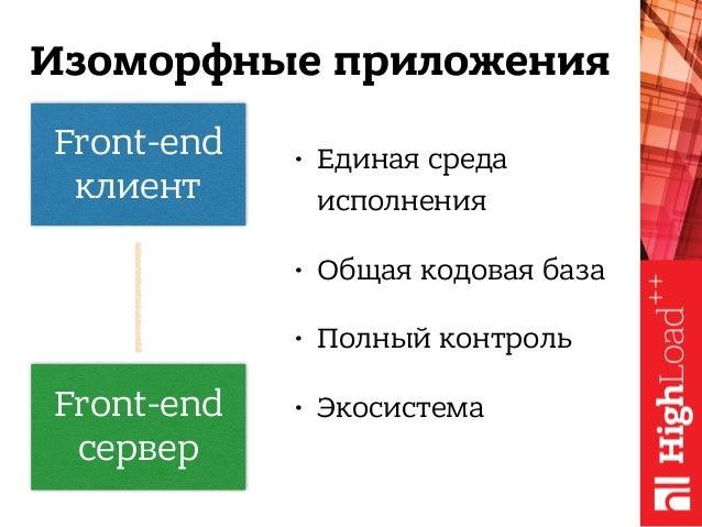 Front-end клиент Изоморфные приложения Front-end сервер • Единая среда исполнения • Общая кодовая база • Полный контроль...