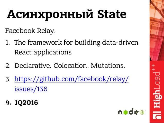 Асинхронный State Facebook Relay: 1. The framework for building data-driven React applications 2. Declarative. Colocation....