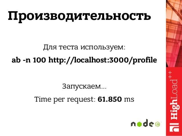 Производительность Для теста используем: ab -n 100 http://localhost:3000/profile Запускаем… Time per request: 61.850 ms