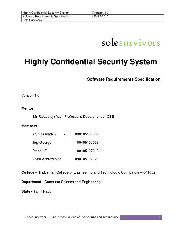Highly Confidential Security System Software Requirements Specification Sole Survivors  Version 1.0 20-12-2012  solesurviv...