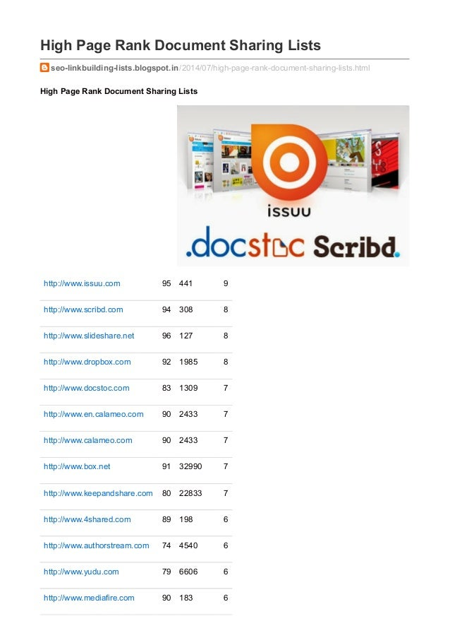 High Page Rank Document Sharing Lists seo-linkbuilding-lists.blogspot.in/2014/07/high-page-rank-document-sharing-lists.htm...