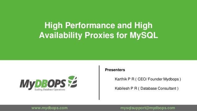 www.mydbops.com mysqlsupport@mydbops.com Presenters Karthik P R ( CEO/ Founder Mydbops ) Kabilesh P R ( Database Consultan...