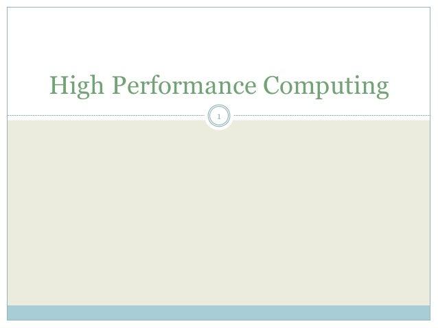 High Performance Computing 1