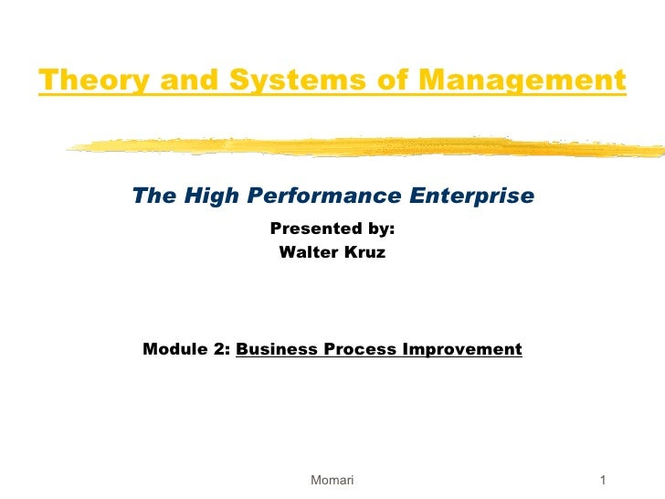 Theory and Systems of Management The High Performance Enterprise Presented by: Walter Kruz Module 2:  Business Process Imp...