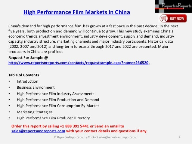 ReportsnReports: High performance film markets in china Slide 2
