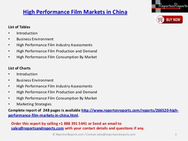 ReportsnReports: High performance film markets in china Slide 3