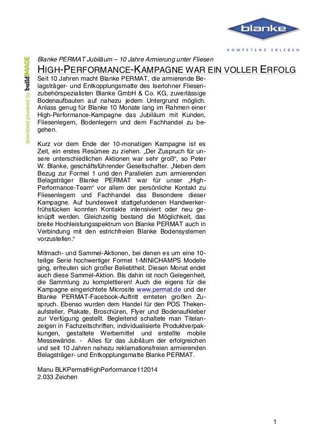 Blanke PERMAT Jubiläum – 10 Jahre Armierung unter Fliesen  HIGH-PERFORMANCE-KAMPAGNE WAR EIN VOLLER ERFOLG  Seit 10 Jahren...