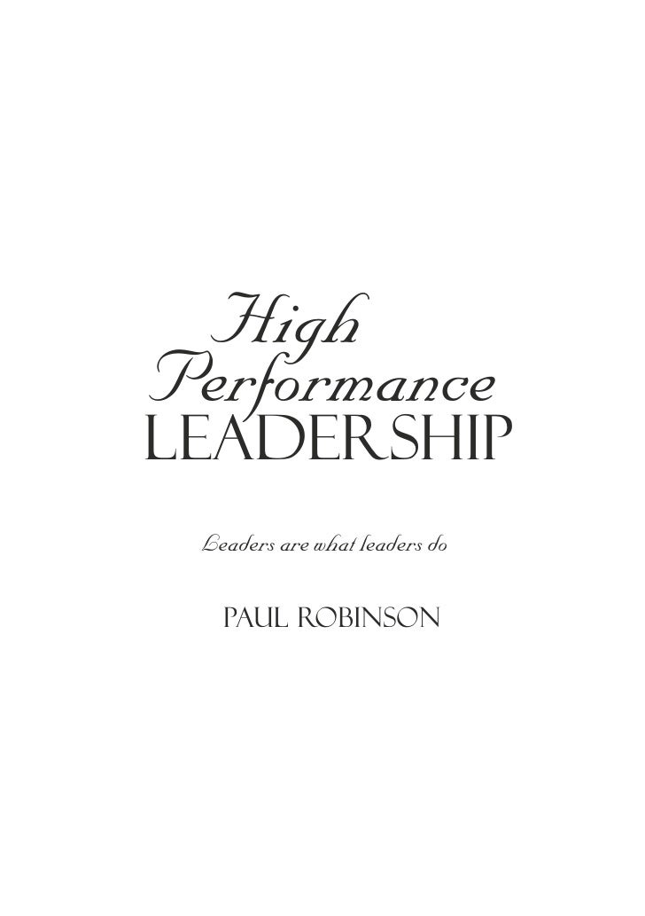 High Performance Leadership Slide 2