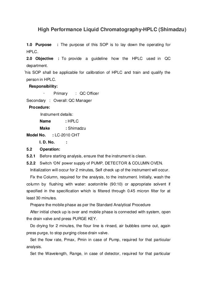 Hplc shimadzu Manual