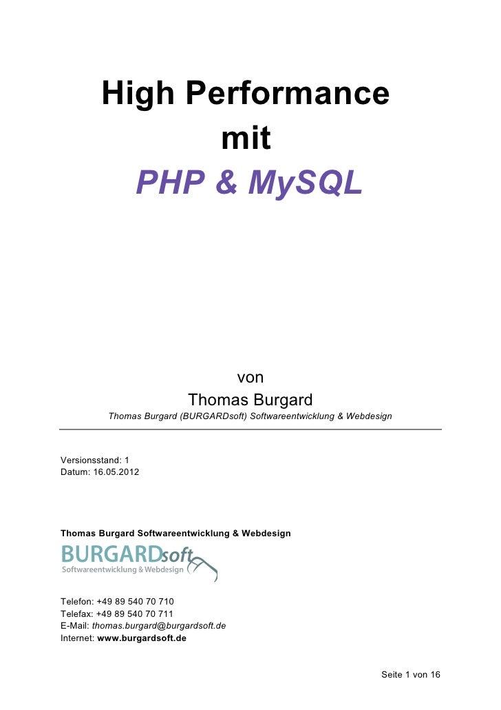 High Performance                mit           PHP & MySQL                                 von                            T...