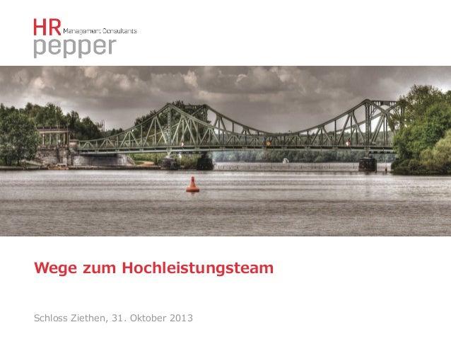 Wege zum Hochleistungsteam Schloss Ziethen, 31. Oktober 2013