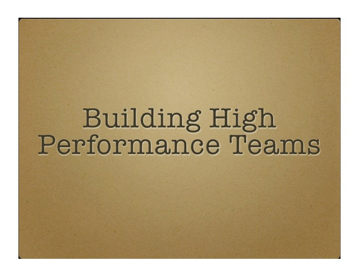 building high performance teams pdf