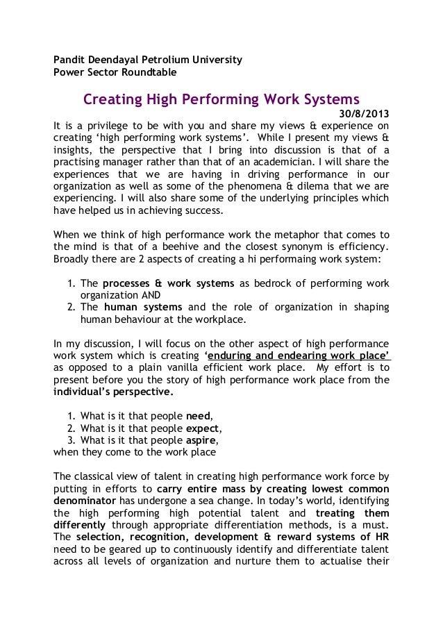 High performance work systems essay
