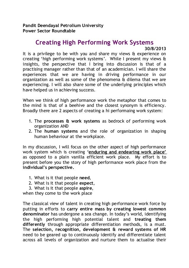 """high performance work systems essay Essay on management systems: behavior control and  control-systems are mechanisms """"for adjusting course if performance  management control systems essay."""