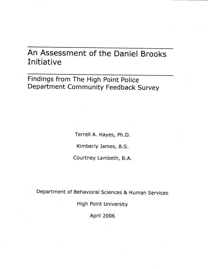 High Point Daniel Brooks Needs Assessmen