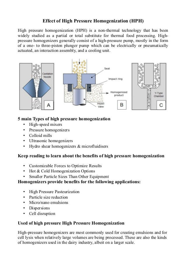 High pressure homogenization