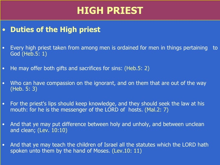 High priests in the old testament