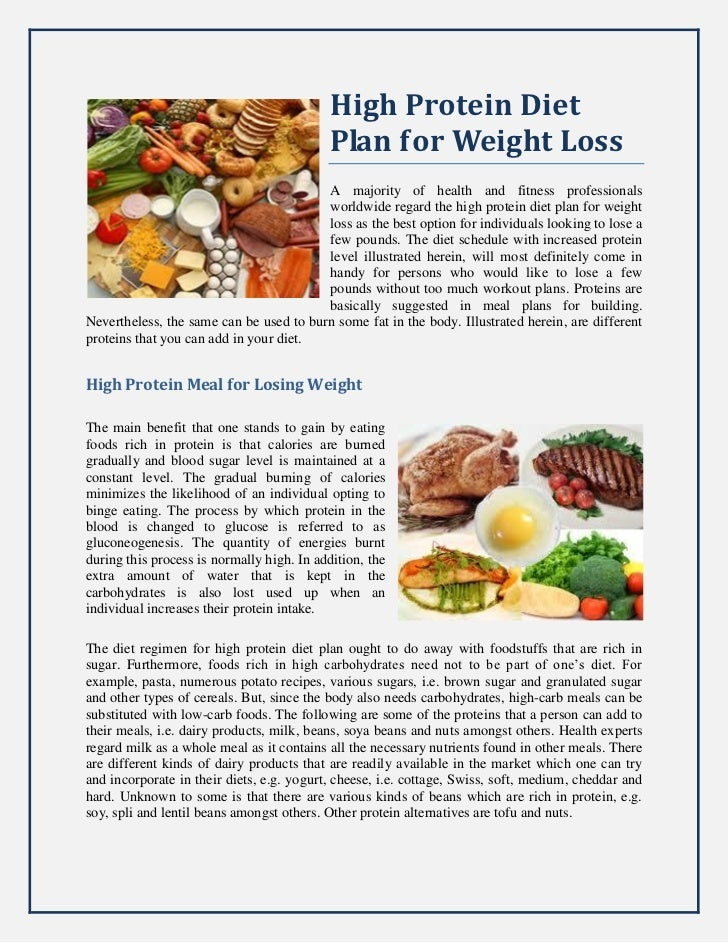 High Protein Diet Plan For Weight Loss