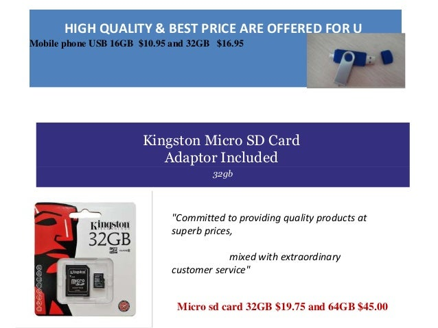 HIGH QUALITY & BEST PRICE ARE OFFERED FOR U Mobile phone USB 16GB $10.95 and 32GB $16.95 Kingston Micro SD Card Adaptor In...