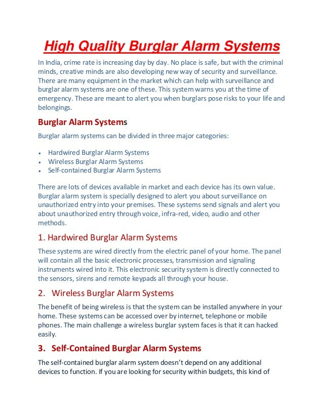 High Quality Burglar Alarm Systems In India, Crime Rate Is Increasing Day  By Day. ...