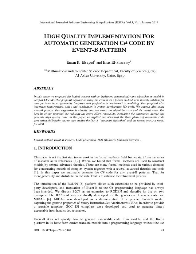 International Journal of Software Engineering & Applications (IJSEA), Vol.5, No.1, January 2014  HIGH QUALITY IMPLEMENTATI...